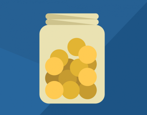 Dark blue banner showing a cartoon illustration of coins in a see-through jar