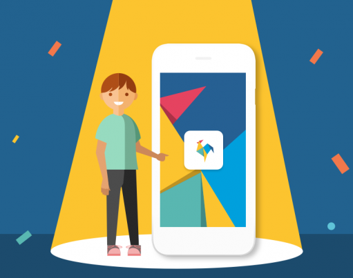 Illustration of a boy under a spotlight pointing at a device with the RoosterMoney app and logo on it, on a dark blue stage with confetti overlaid