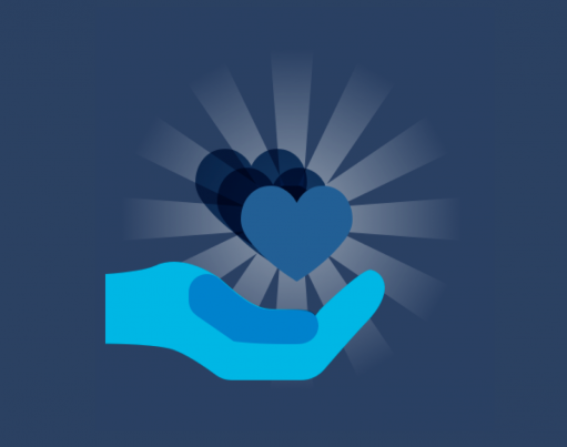 Cartoon open palm with a shining blue heart above it, on a dark navy blue background with origami in the corners