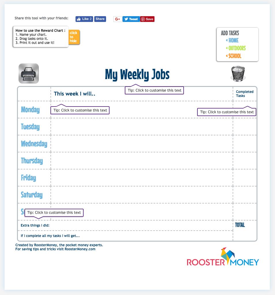 Pocket Money Reward Chart