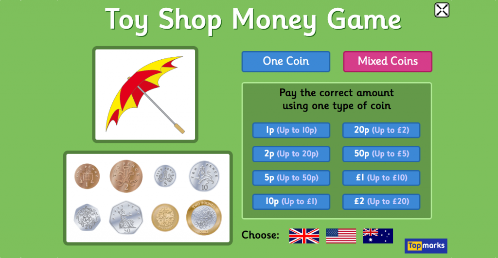 Money Games for Kids - Toy shop money game